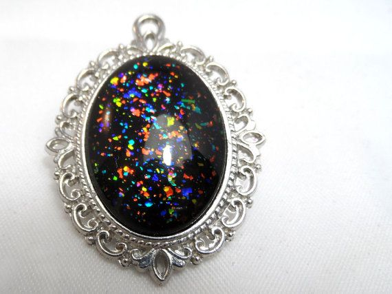 Black Rainbow Glitter Nail Polish Necklace - 'Midnight Opal' Handmade Sparkly Silver-plated Multicoloured Flake Nail Varnish Pendant Jewelry