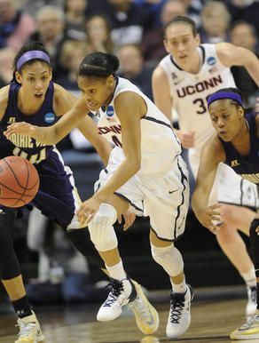 UConn guard Moriah Jefferson gets one of her five steals, this one from Prairie View guard Jeanette Jackson, right. Jefferson had 16 points ...3-23-14