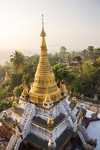 Kyaik Tan Lan Pagoda, the hill top temple in Mawlamyine, Mon State, Myanmar…