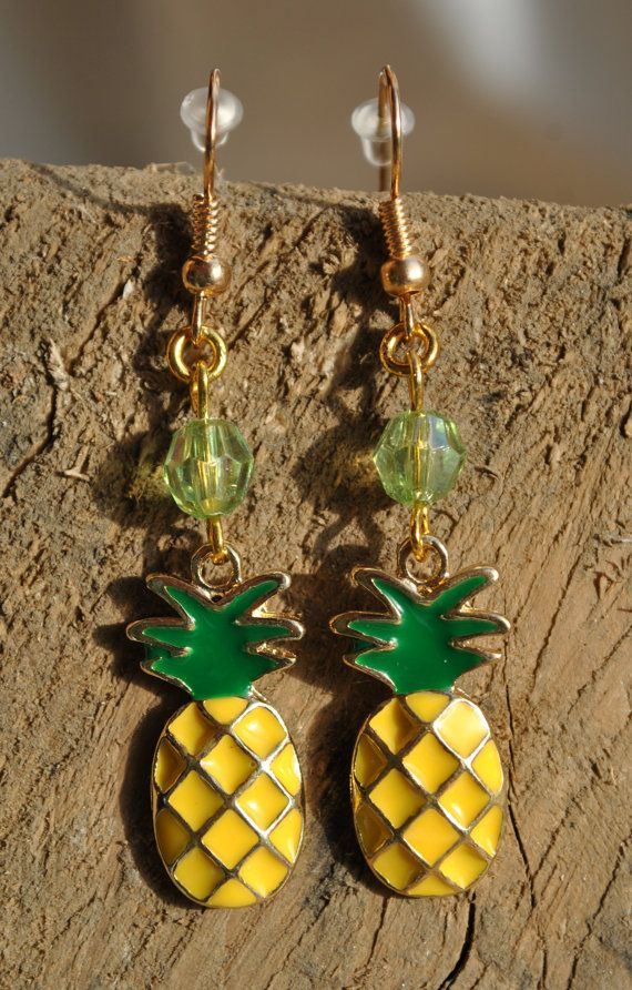 Gold plated pineapple fish hook earrings