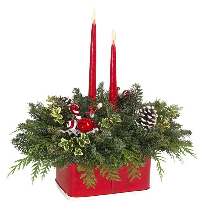 Deluxe Double Candle Fresh Mountain Evergreens Christmas Centerpiece