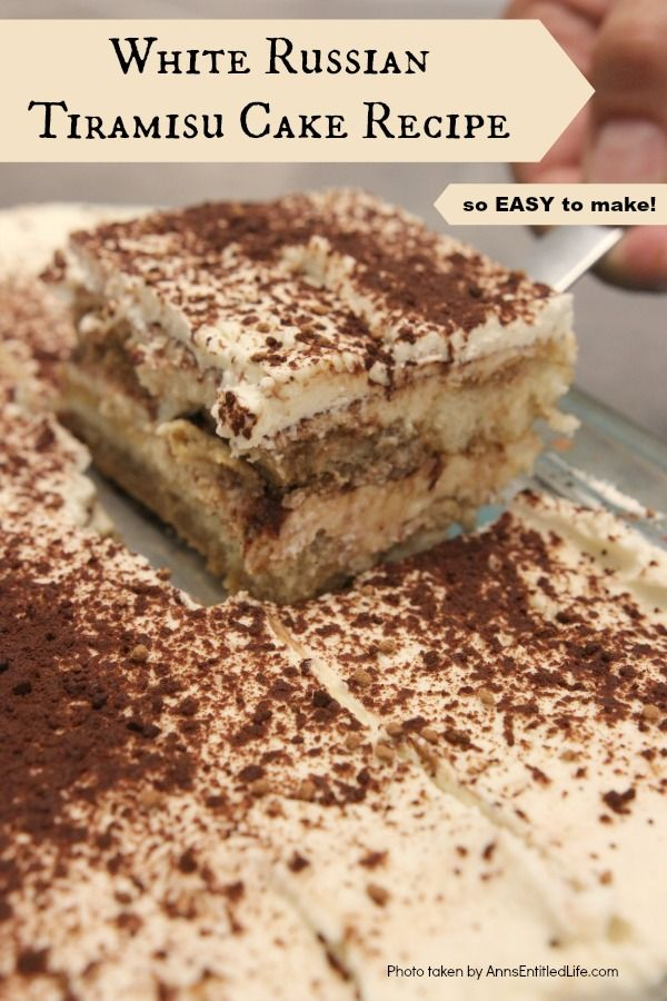 White Russian Tiramisu Cake Recipe. This no-egg, no-cooking, tiramisu recipe comes together quickly. It can be served immediately or made the day before your special event or dinner. The melt-in-your-mouth creamy, rich, coffee-cocoa goodness of this white Russian tiramisu will have your friends and family asking for seconds!