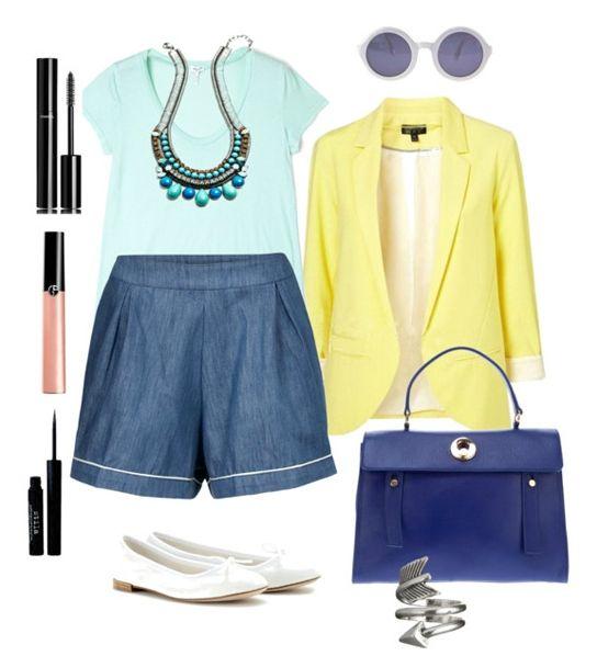 Бирюзовая блузка, джинсы, белые туфли или желтые ботильоны