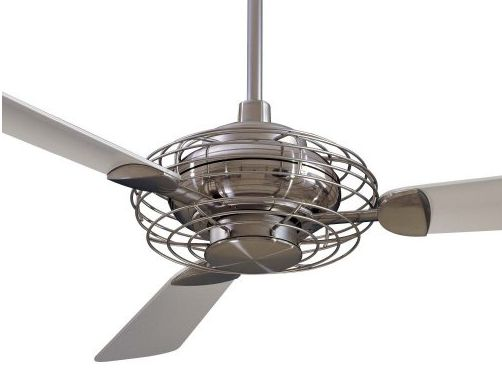 Acero fan without light, comes in flat white to blend with ceiling or brushed steel.