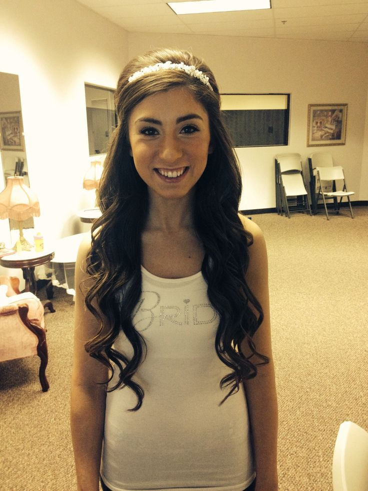 Bridal hair... Half up with headband:) and this is her real hair! No extensions ;)