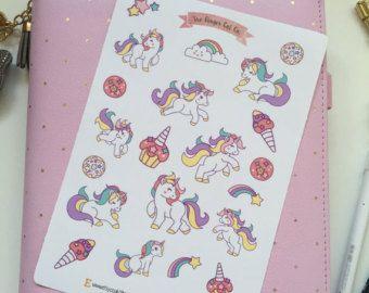 Unicorn Stickers | Planner Stickers Journal Stickers, Scrapbook, kogel Journal, BUJO Stickers, kogel Journal Stickers
