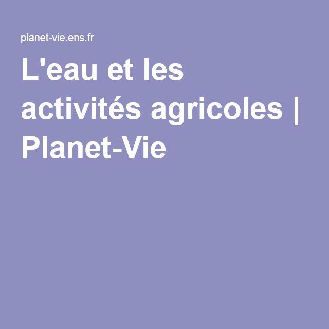 L'eau et les activités agricoles   Planet-Vie