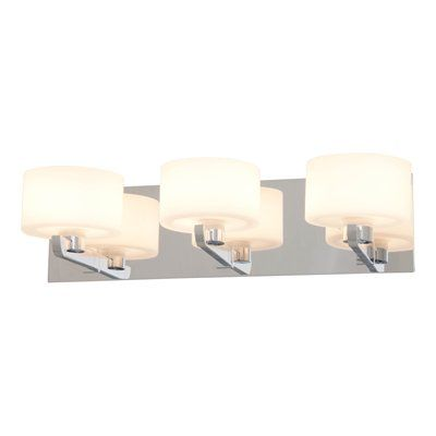 Bathroom Vanity Light No Junction Box : DVI Haida 3 Light Chrome Bathroom Light with Opal Glass Shades Can be mounted facing up or down ...