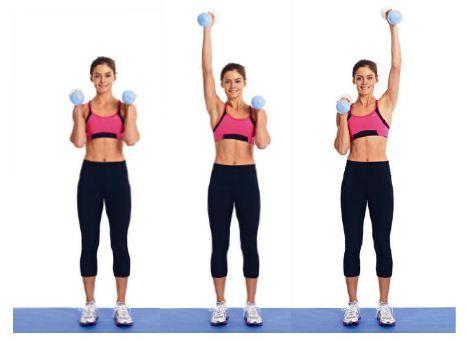Incluye en tu rutina  ejercicios con mancuernas, estos permiten a los músculos complementarios crecer conjuntamente y desarrollarse en sintonía. Si estás empezando tu peso ideal podría ser de 1,5kg por mancuerna.