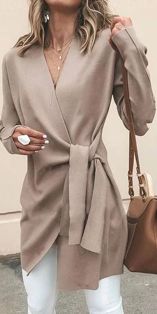 Hot Sale!Khaki Cotton Long Sleeve Casual Solid V neck Cardigan