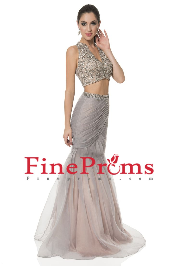 2016 V Neck Prom Dresses Trumpet With Beading And Ruffles Two-Piece