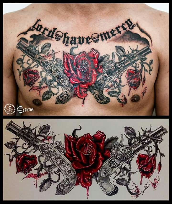 Guns And Roses Tattoo Chest Tattoo Sketches Tattoos For Guys Chest Piece Tattoos