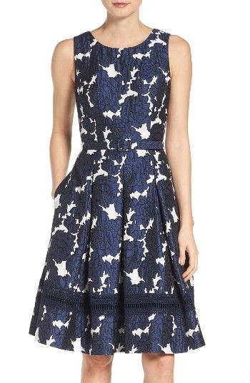 Free shipping and returns on Eliza J Jacquard Fit & Flare Dress (Regular & Petite) at Nordstrom.com. A perfectly polished party dress flatters with a belted waist and pleat-flared skirt.