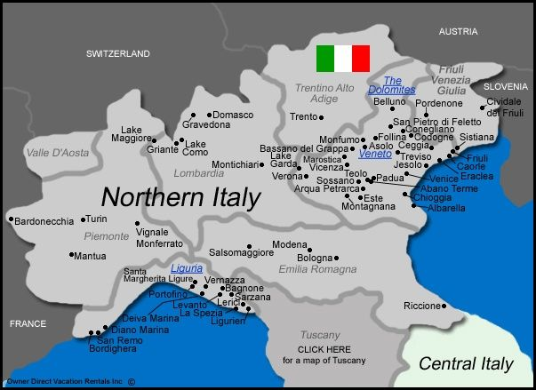 Map of Northern Italy | Perfect Pairings: the Principle of Place in Northern Italy