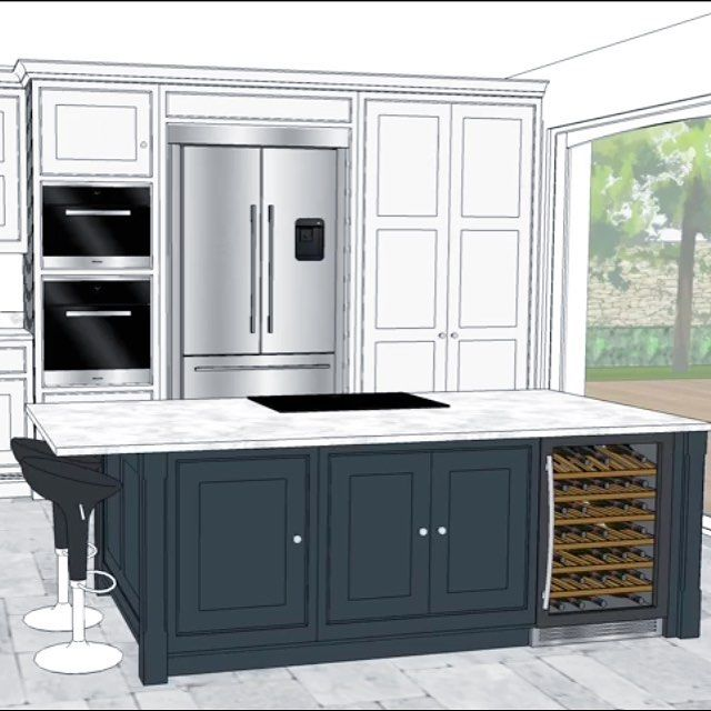 Sharing with you all some of my kitchen design... Here is the island with hob and wine fridge and behind it, the ovens, double fridge freezer and larder cupboard. Just need the final site survey carried out and this baby can go into production! ====================================== #kitchendesign #tomhowley #kitchenreno #kitchen #interiordesign #island #shaker #design #interiors #interiors4all #winefridge #cad #hagueblue #doubleoven #reno #homeimprovement #larder #pantry #newkitchen…