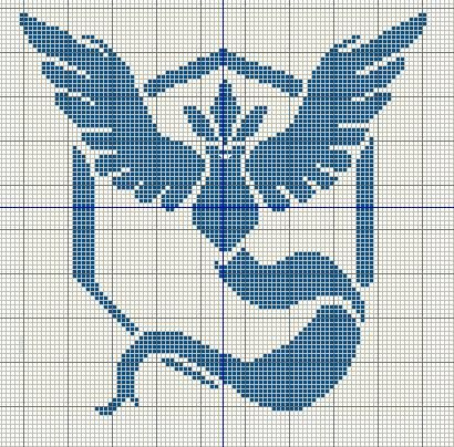 Buzy Bobbins: Pokemon GO team logo cross stitch design - Mystic, Valor and Instinct