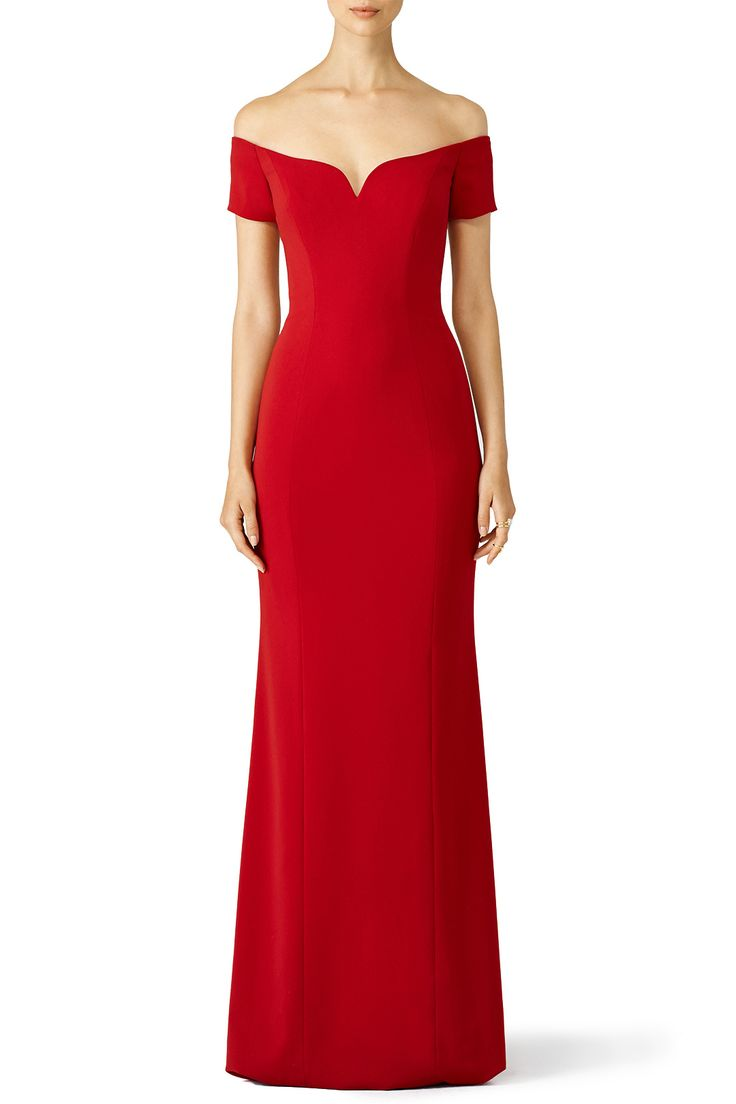 Rent Red Sweetheart Off Shoulder Gown by Badgley Mischka for $95 only at Rent…