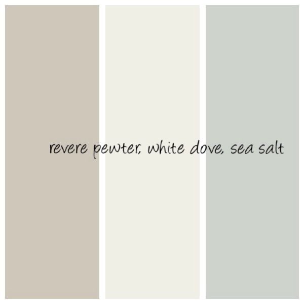 Color choices for Project Ugly House. Walls: Revere Pewter and Sea Salt, Ceilings and Trim: White Dove