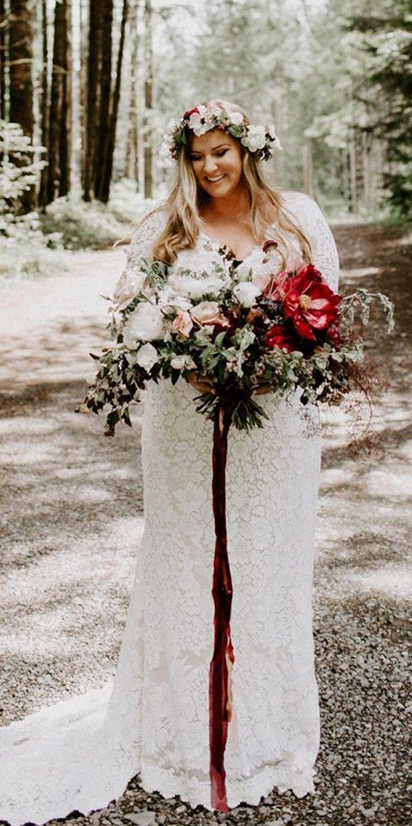 plus size bohemian wedding dress lace straight v neckline with long ...