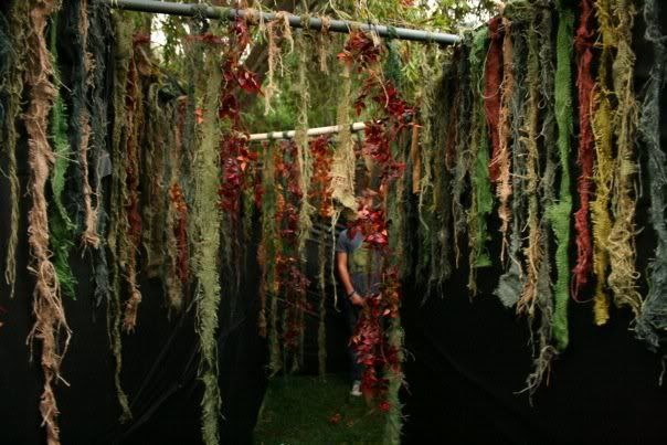 Spooky ceiling or door way idea. Shred burlap and color with RIT dye.  Includes suggestions for hanging.