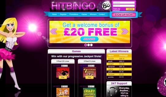This bold bingo site is certainly one for a female target audience. It has been designed with a colourful sliding banner above the fold, large sparkling text at the very top and a female avatar or mascot of the brand. Salient features include promotions, games and a winner's section as well as an easy-to-use sign up and register page.