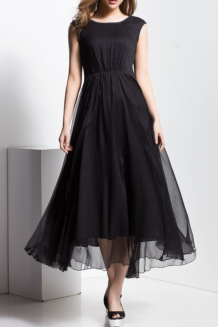 Borme Black High Waisted Sleeveless Dress