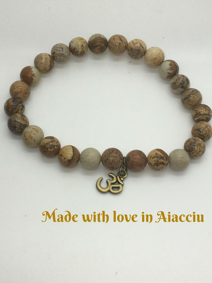bracelet homme perles Karma ohm bouddhiste jaspe 10 mm : Bijoux pour hommes par made-with-love-in-aiacciu