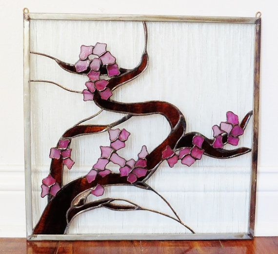 Stained Glass Window Panel Japanese Cherry Blossom Tree Interior Decorating…