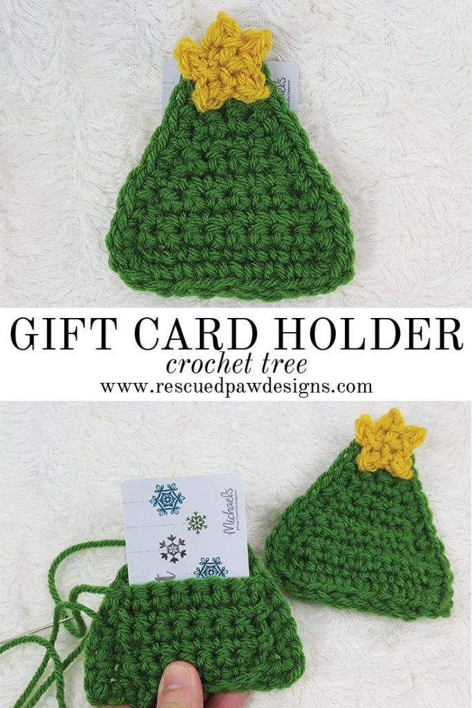 Crochet Tree Gift Card Holder - Great for Christmas Gift Cards by Rescued Paw Designs via @rescuedpaw