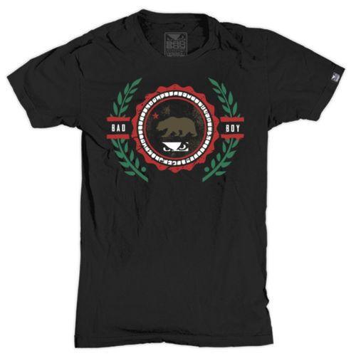Bad-Boy-Cali-Crest-ajuste-Atletico-T-Shirt-Pequeno-Negro