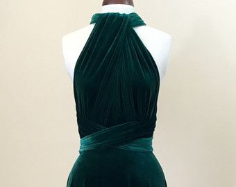 Vestido de terciopelo verde, vestido infinito, vestido de Dama de honor, vestido de fiesta, vestido de bola, vestido largo, vestido de noche, vestido convertible, vestido de fiesta