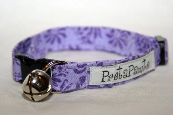 Safety Breakaway Cat Collar in Purple flower fabric by PretaPawte, $15.00
