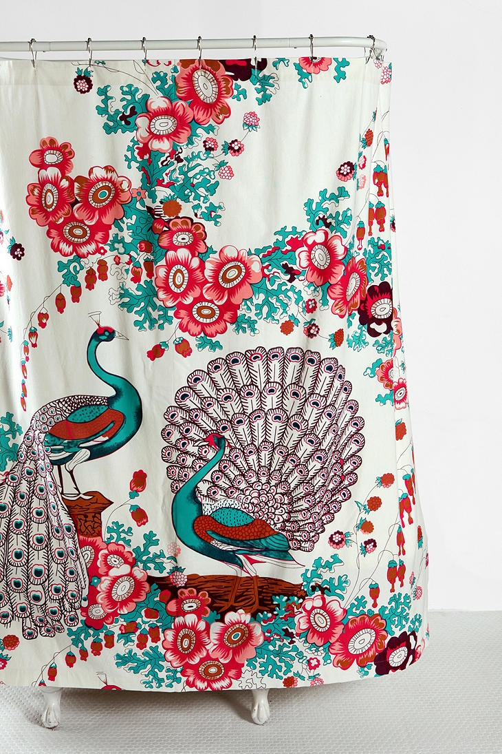 Peacock feather fabric shower curtain quot teal peacock feather quot green - Floral Peacock Shower Curtain