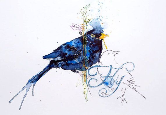 Blackbird watercolour painting. FLY Original Unique by mimilove