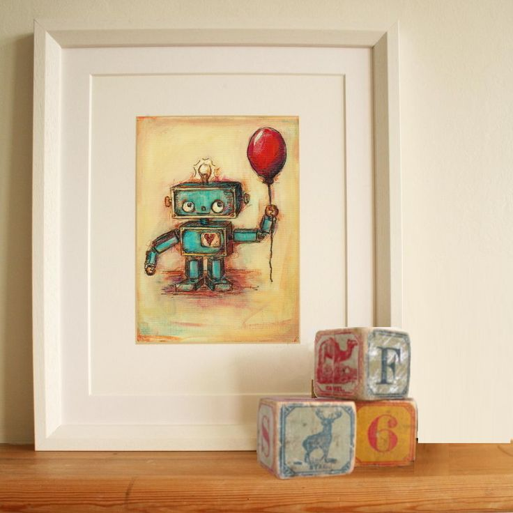 We adore this robot wall art from jenny dale designs for for Robot room decor