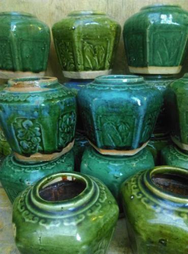 Oud Antiek Gemberpotje Chinees Turkoois - Groen