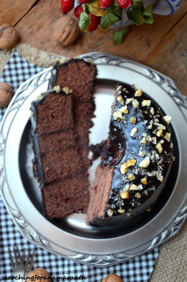 Piernikowa babka gotowana z powidłami i polewą czekoladową