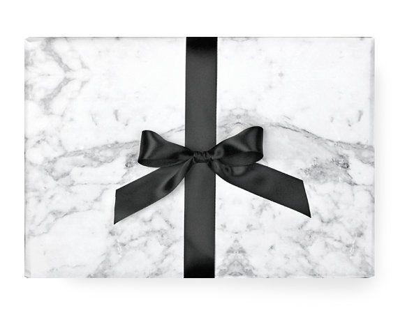 Papier - noir et blanc motif moderne Chic Party scandinaves cadeaux cadeaux de marbre