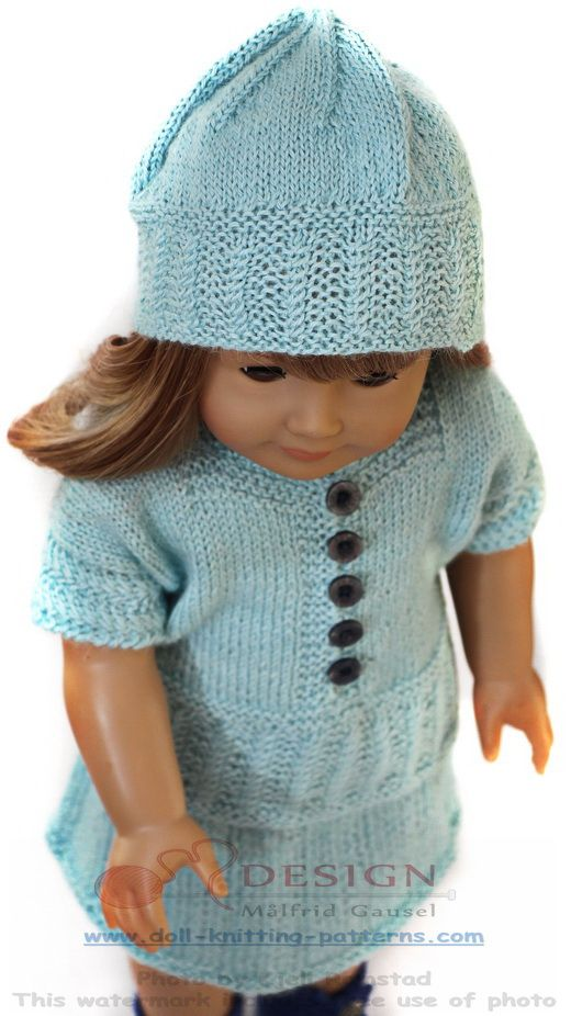 Doll knitting summer outfit