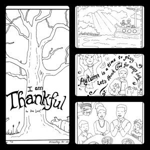 "Free Thanksgiving coloring sheets for children - ""I am Thankful to the Lord"" page 1, page 2 has blank leaves for kids to write what they are thankful for on to attach to tree."