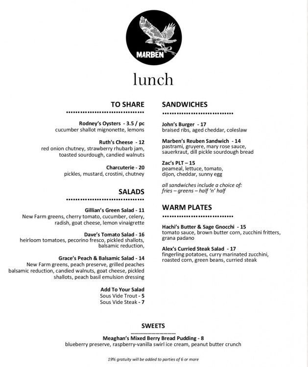 Spence Cafe Lunch Menu