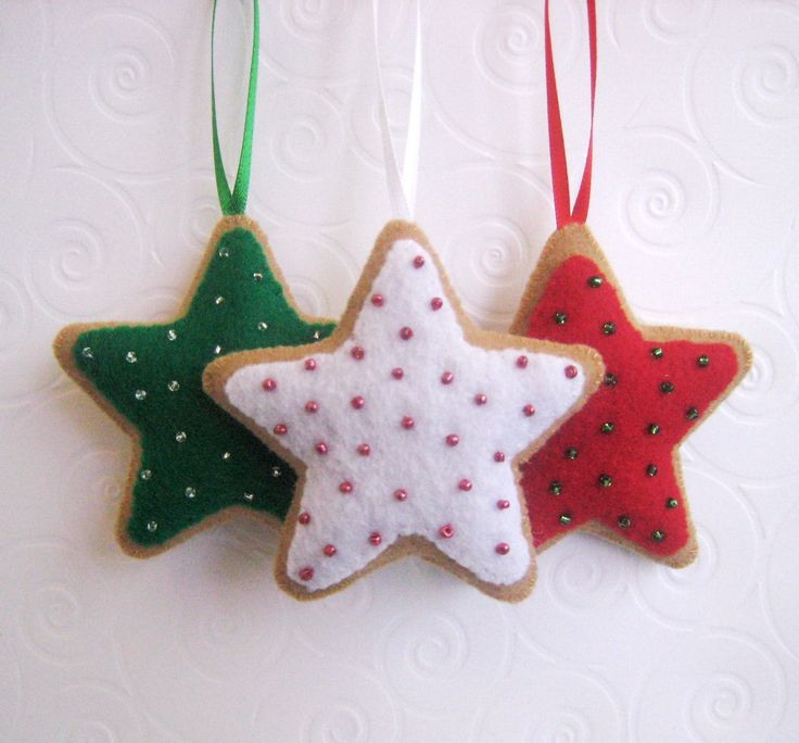Felt Christmas Ornaments ~ they look like cookies!