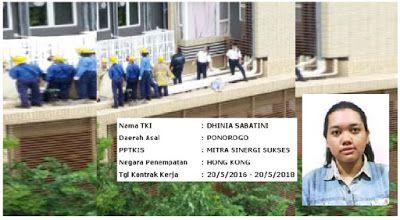 Diduga Karena Tekanan Pekerjaan TKW Hongkong Asal Ponorogo Meninggal Terjatuh Dari Lantai 11