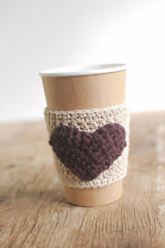 Heart Coffee Cup Sleeve Crochet Coffee Cup Cozy Reusable Coffee Cozy Natural With Brown Valenti In 2020 Small Gifts Little Gifts Coffee Cup Sleeves