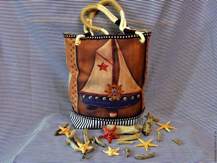 Купить Текстильная пляжная сумка в винтажном стиле - в полоску, комбинированный, сумка женская, сумка пляжная