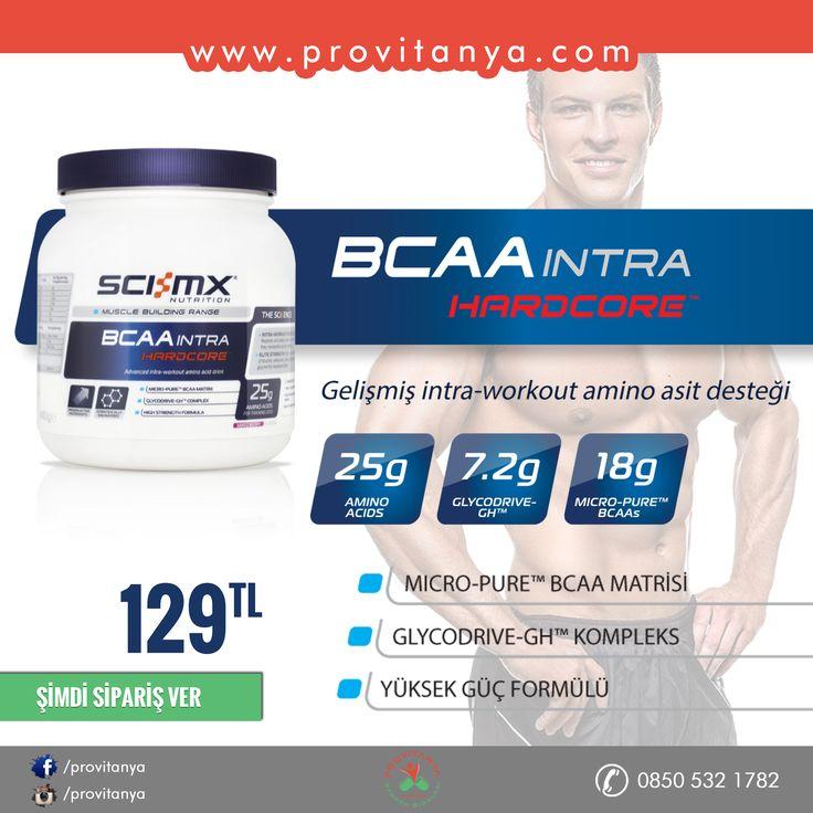 SCI-MX BCAA Intra Hardcore 480 gr 15 gramlık porsiyonunda 9 gram BCAA, 3,6 gram da Glycodrive-GH glutamine içerir. Micro-Pure Matrisi adını verdiği BCAA içeriği 4500 mg lösin, 2250 mg valin ve 2250 mg izolösin içerir.   BCAA INTRA HARDCORE intra-workout, antrenman esnasında alınan toz fomda BCAA ürünüdür. Özel formülasyonu ve her porsiyonda 12,5 gram amino asit içeriği ile antrenmandan aldığınız verimi arttırmada size yardımcı olacaktır. #scimx #bcaa #supplement #intraworkout #provitanya