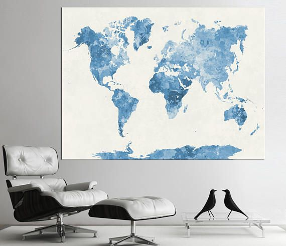 80 best world map images on pinterest canvas prints photo blue watercolor world map printabstract world map print1234 or 5 panels on canvas framed and ready to hang for home office decoration gumiabroncs Gallery