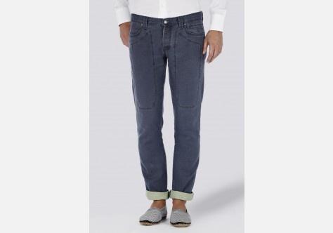 Pantalone cinque tasche cavallery bicolore.