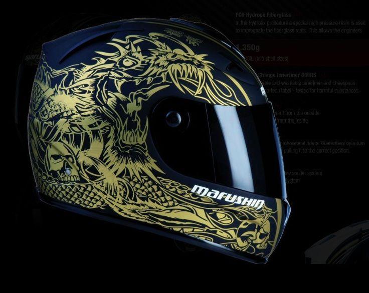 Marushin Malu Sen fiberglass motorcycle helmet full face helmet bright black dragon soul 888RS
