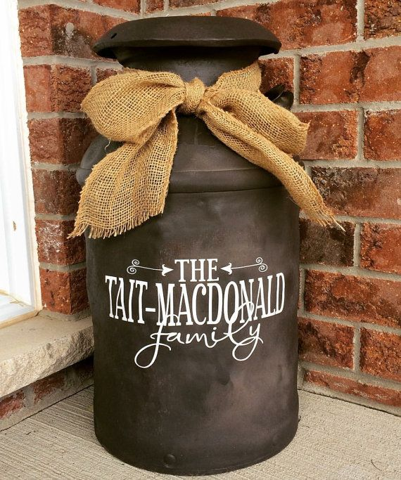 Personalized Family Name Decal for Milk Can by Impressivecreation